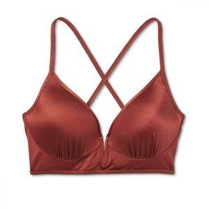 NWT Shade & Shore Lined Bikini Top 34DD Copper